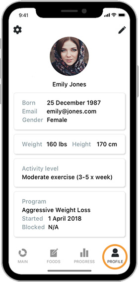 Evolve Diet App Profile